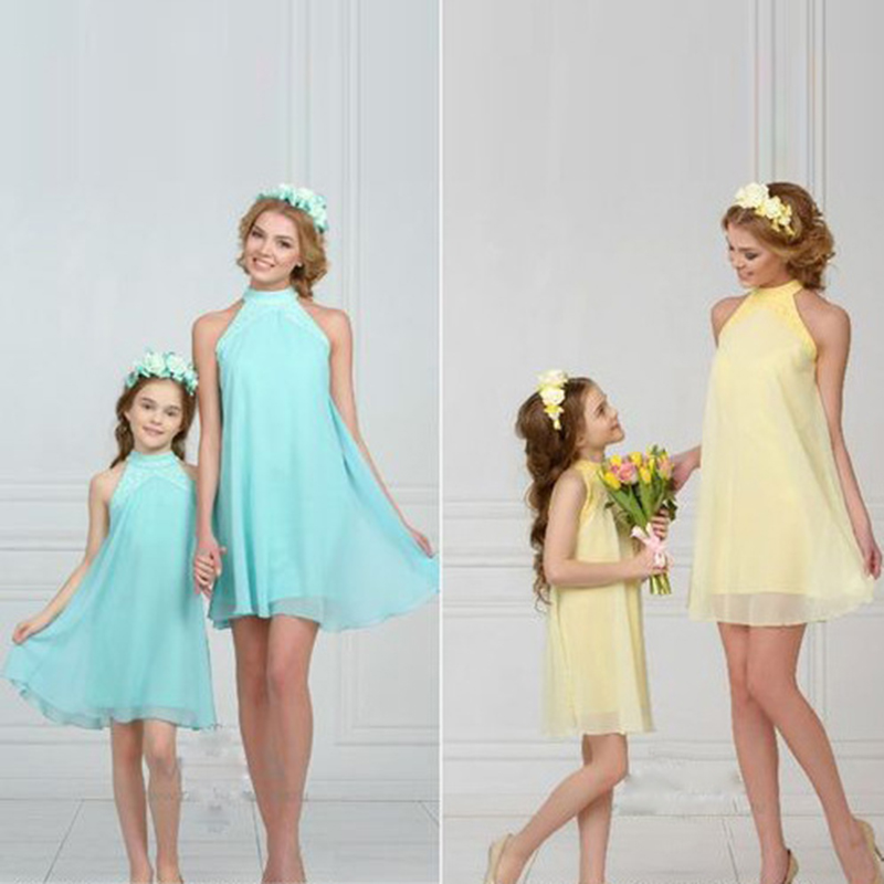 Matching Family Clothing Mother Daughter Dress Pure Color off Shoulder Mini Chiffon Dress for Mum Girls Dress New Kids Clothing все цены