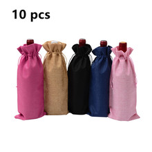 10pcs Jute Wine Bag Wedding Party Decoration red wine Bottle Cover Gift Champagne Pouch Hessian burlap Packaging bag