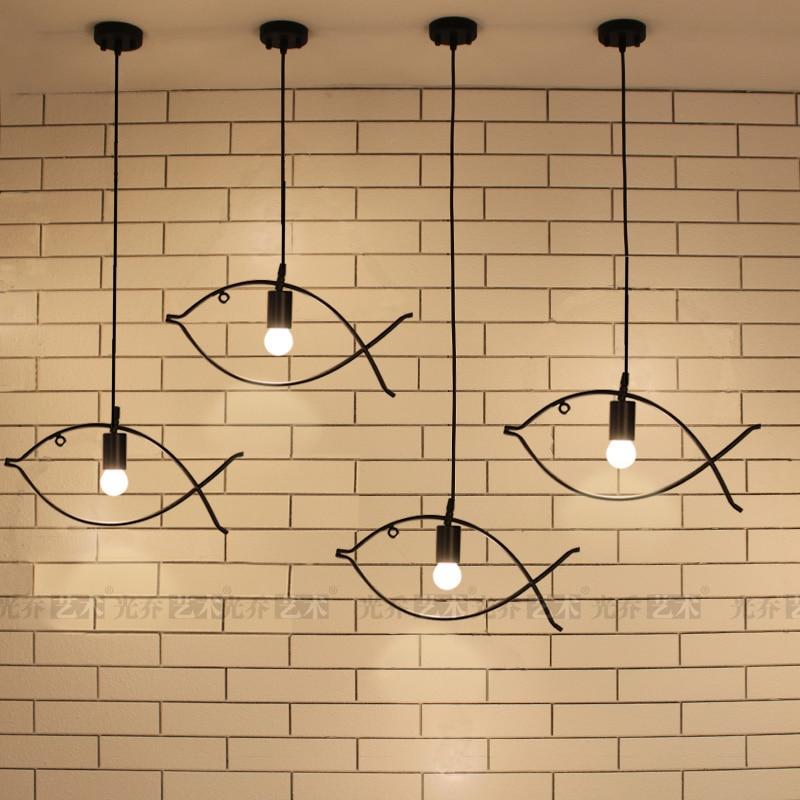 Eenvoudige Edison Ijzer Vis Frame Hanglamp Cafe Bar Eetkamer Couture Led Decoratieve Opknoping Lamp