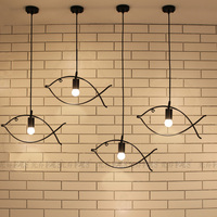 Simple Edison Iron Fish Frame Pendant Lamp Cafe Bar Dining Room Couture LED Decorative Hanging Lamp