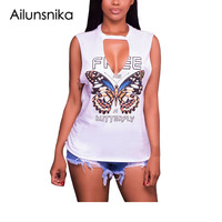 Ailunsnika Women Fashion Tank Top Butterfly Print Sexy Back Hollow Out Summer Sleeveless Tops Deep V