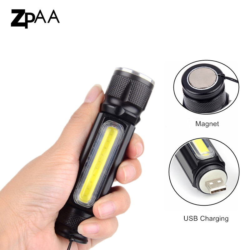 USB LED Flashlight xml t6 +COB LED Torch Rechargeable Magnet Camping Lamp Waterproof With 18650 battery Zoomable Portable Light 1 cob led lamp usb rechargeable built in battery led light with magnet portable flashlight outdoor camping working torch