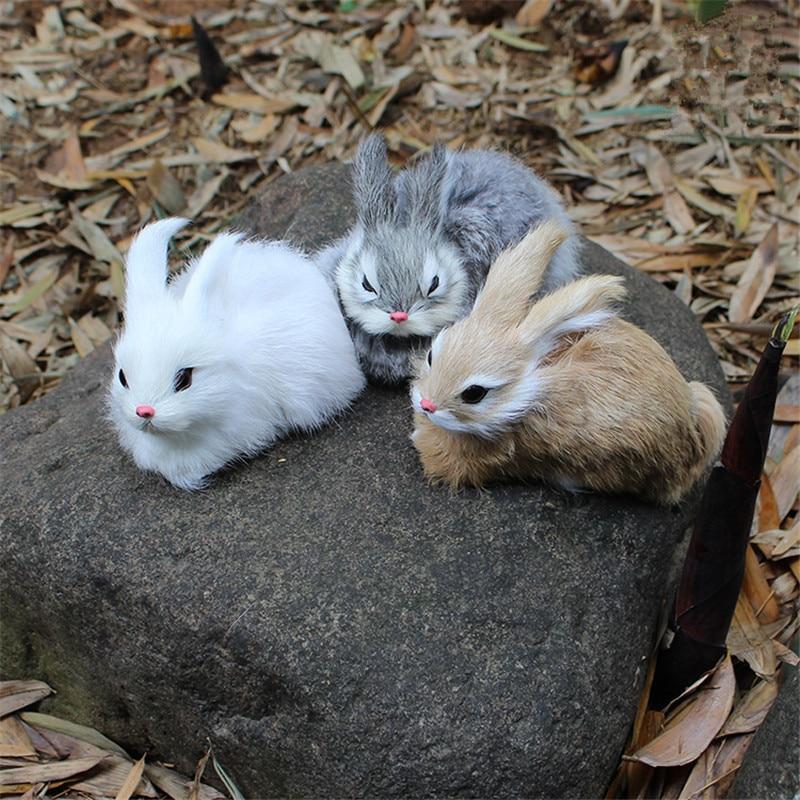 15CM Mini Realistic Cute White Plush Rabbits Fur Lifelike Animal Easter Bunny Simulation Rabbit Toy Model Birthday Gift