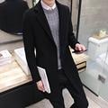 2016 Nueva Moda masculina otoño invierno hombre de manga larga bordado chaqueta largas secciones abrigo de lana Delgada