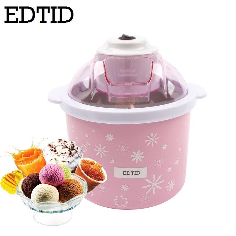 EDTID électrique Mini Machine à crème glacée 1.5L ménage automatique bricolage doux congelé fruits Dessert Machine à glaçons Milkshake congélateur EU
