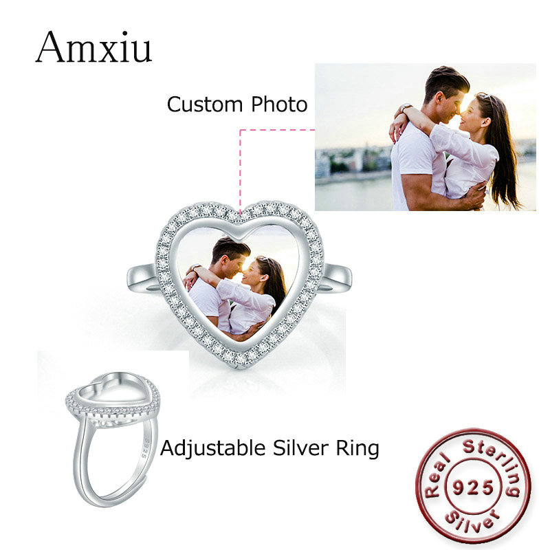 Amxiu 100% 925 Sterling Silver Rings Custom Photo Adjustable Open Ring DIY Kids Family Pictures Heart Rings For Wedding Jewelry
