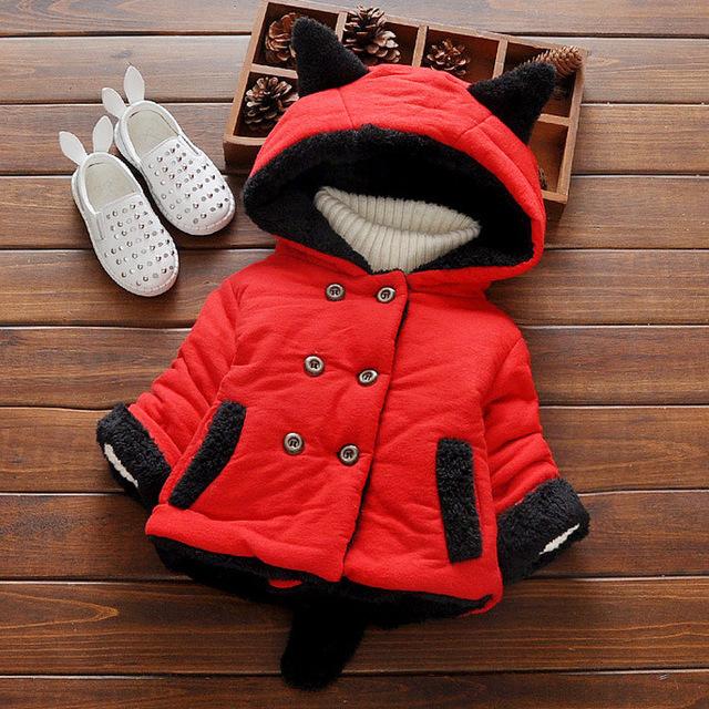 2016 outono meninas do bebê casaco de Inverno engrossar adicionar veludo quente desgaste exterior casaco jaqueta com capuz orelha de recém-nascidos do bebê para crianças roupas