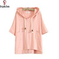 2017 Japoński Mały Świeży Styl Kobiety Wiosna Lato Bluzki Krótki Rękaw Bluzy Kobiety Różowy Czarny Bluzy Bawełniane YY953