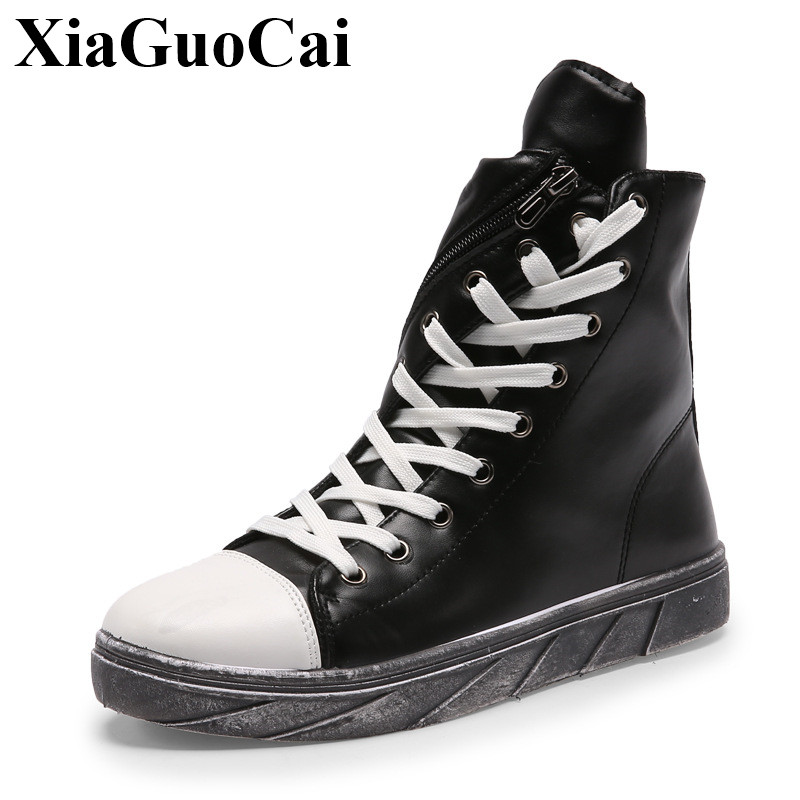 British Leisure Shoes Men High-top Lace-up Pu Leather Shoes Classic Round Toe Retro Fashion All-match Black Flats Shoes H522 35