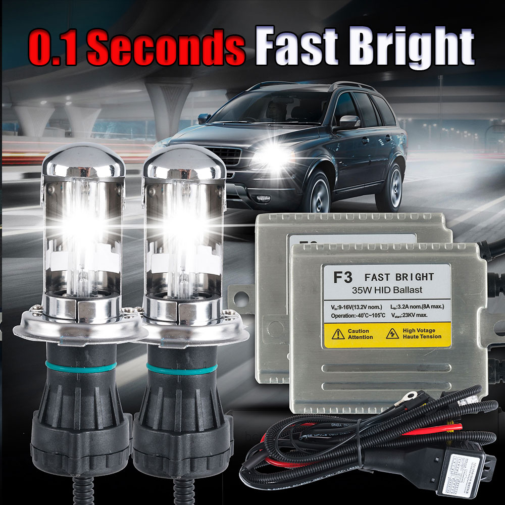 ФОТО Glorious Free Shipping 35W HID Conversion Kit F3 Fast Star Slim Ballast Bi xenon hid kit H13-3  Hi Lo HID Kit