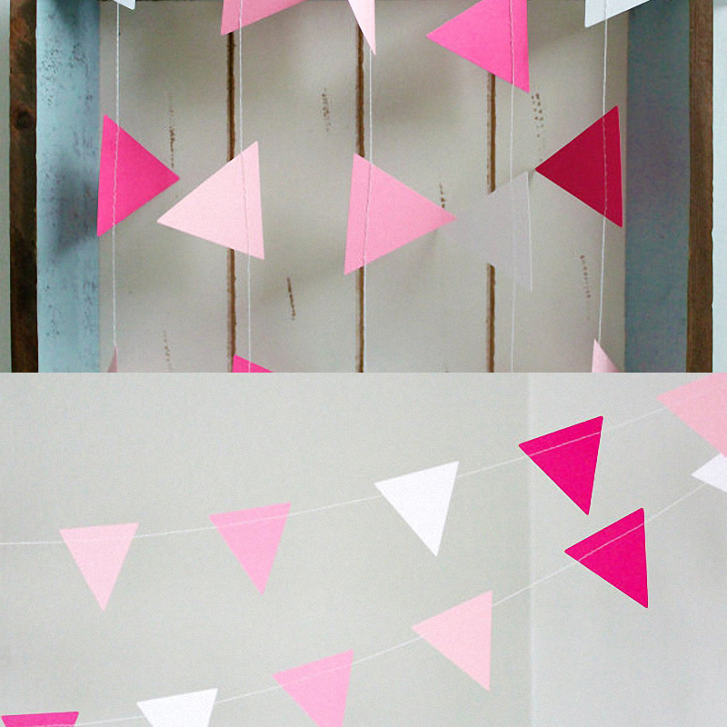 2pcs Hot Pink Cristmas Tree string Ornaments Paper Garland Pennant Banner Party Triangle Bunting Wedding centerpieces Home decor