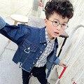 Crianças Meninos Jaqueta Jeans 2017 Nova Primavera Roupas Meninas das Crianças casaco Fashion Casaco de Trincheira Magro Tops Do Bebê Meninas Jakcet Para crianças