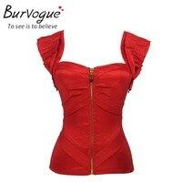 Burvogue אופנה נשים push up קיץ גופיות אדום סאטן bustiers עם רצועות נשף מחוך למעלה רוכסן למעלה overbust מחוך S-2XL