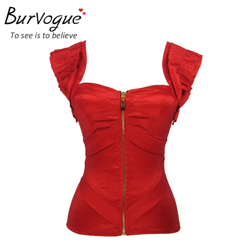 Burvogue fashion women push up summer   tank     tops   red satin corset   top   zipper bustiers with straps prom   top   overbust corset S-2XL