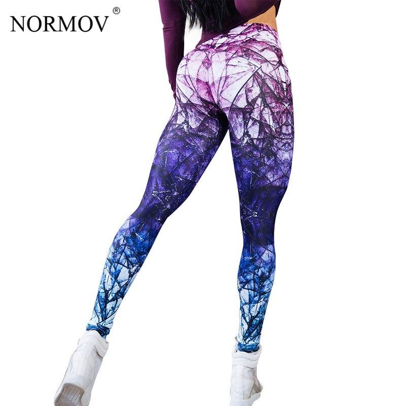 NORMOV осень спортивных Push Up леггинсы для Для женщин Harajuku леггинсы Activewear Леггинсы полиэстер тонкие леггинсы брюки Для женщин S-XL