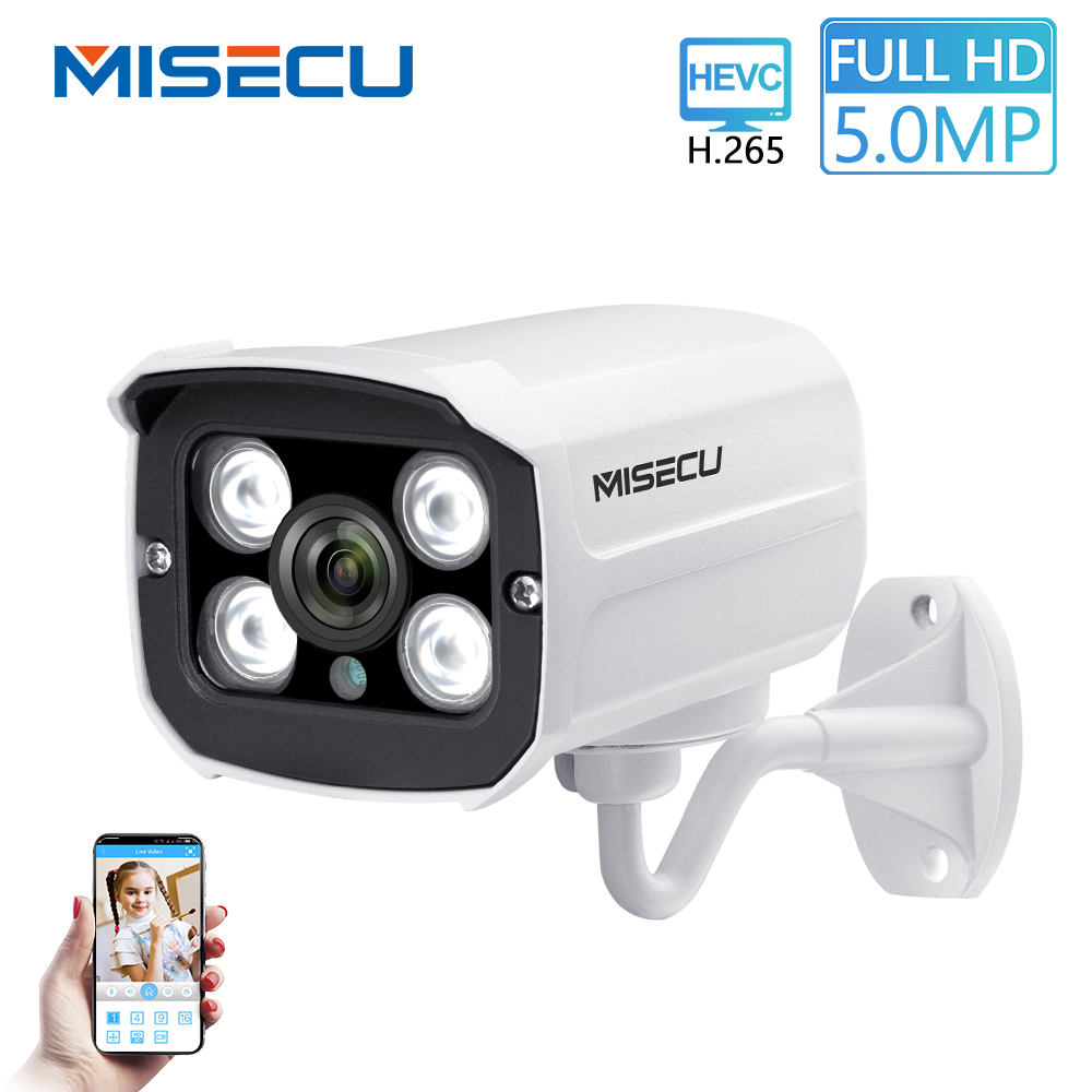 MISECU H 265 POE IP Camera 5MP 4MP Outdoor Waterproof Infrared Night Vision CCTV Camera P2P