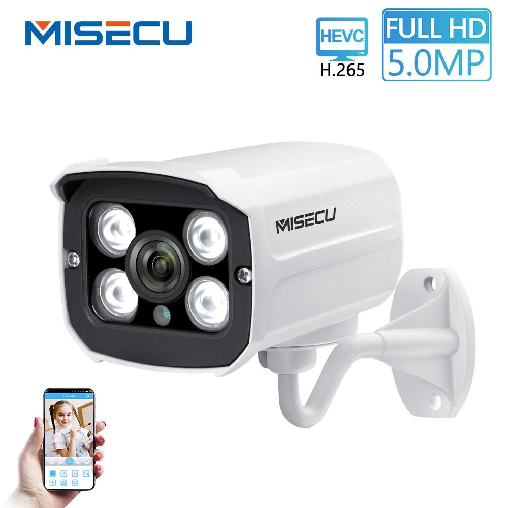 MISECU H 265 POE IP Camera 5MP 4MP Outdoor Waterproof Infrared Night Vision CCTV Camera P2P