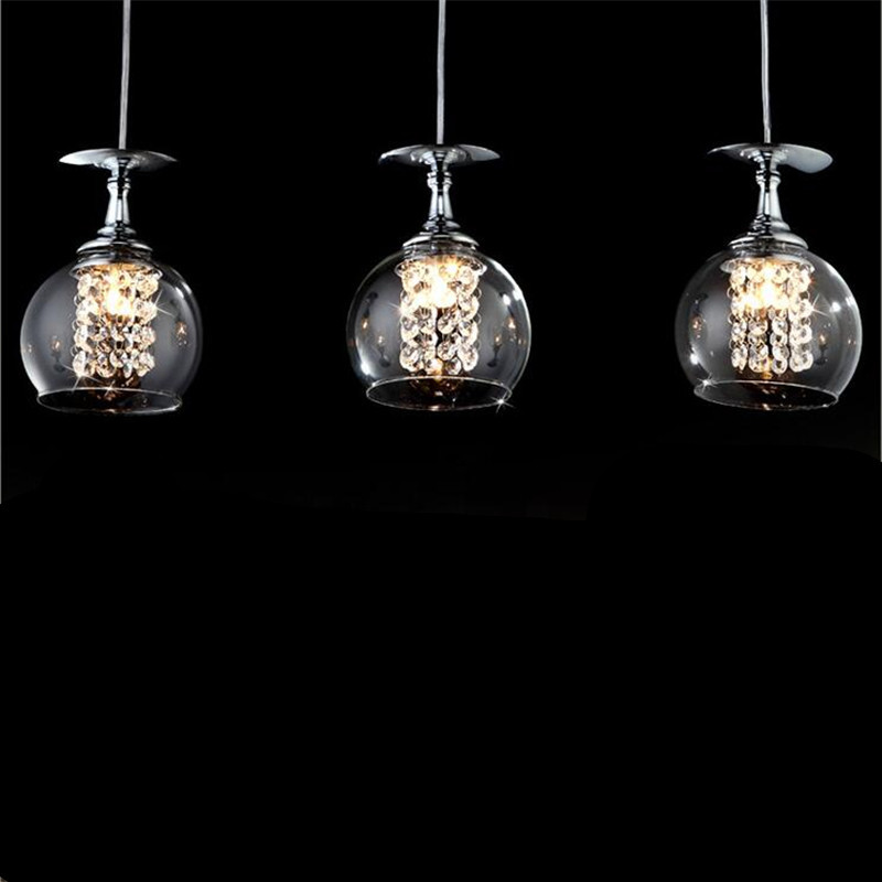 Modern Creative Fashion Brief Glass K9 Crystal Goblet Led G4 Pendant Light for Dining Room Living Room AC 80-265V 1355 modern fashion luxurious rectangle k9 crystal led e14 e12 6 heads pendant light for living room dining room bar deco 2239