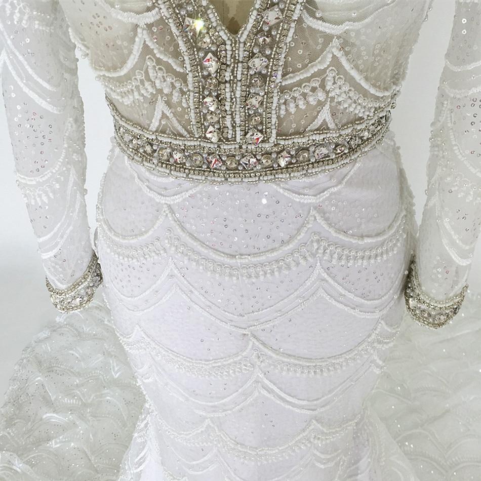 šitý na míru šatek Mermaid Svatební šaty 2015 dlouhé rukávy V - Svatební šaty - Fotografie 4