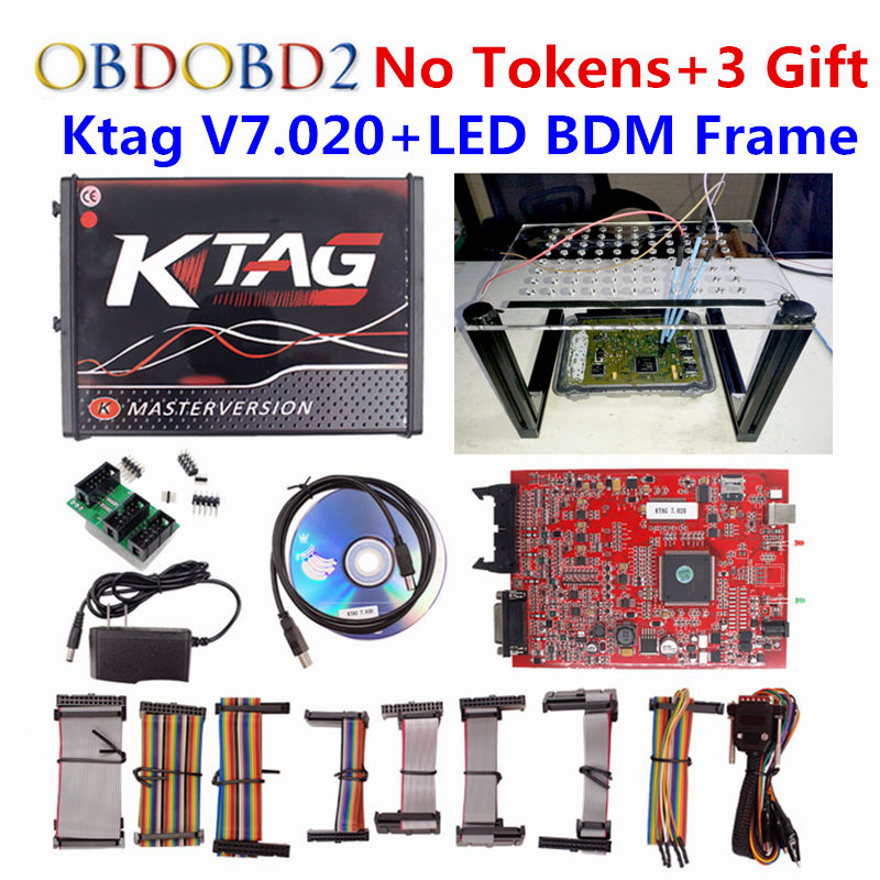 Red EU Version Kess V5.017 Ktag V7.020 LED BDM Frame V2 OBD2 Manager Tuning Kit 5.017 K Tag K-tag Master 7.020 ECU Programmer new version v2 13 ktag k tag firmware v6 070 ecu programming tool with unlimited token scanner for car diagnosis