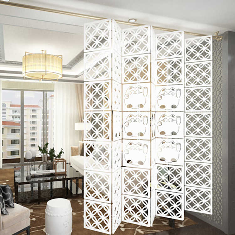 29x29cm Hanging Folding screen biombo Chinese partition curtain Room Divider Panels Partition Wall Art DIY Home Decoration 6pcs