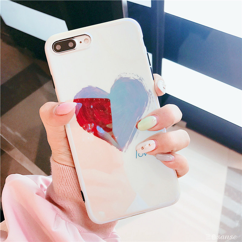 Galleria fotografica BINYEAE For iPhone X Case Fashion Blu-ray Red Heart Love Phone Case for iPhone 8 8 Plus 7 7 Plus 6 6S Plus Soft TPU Back Cover
