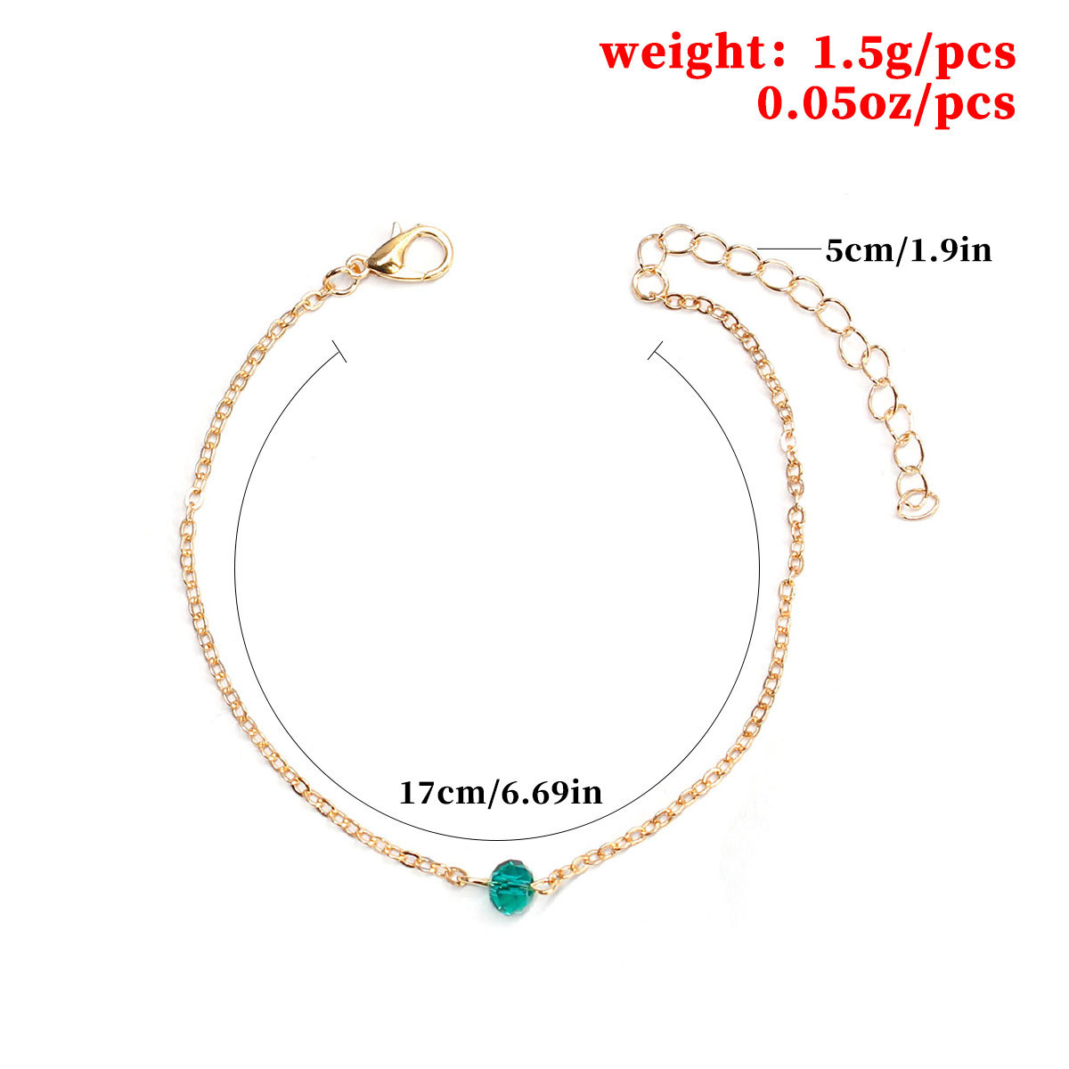 New Crystal Simple Chain Charm Bracelet Gold Silver Color Adjustable Hand Accessories for Women L053 in Charm Bracelets from Jewelry Accessories