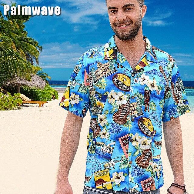 468b4c436d7 New 2018 Summer 100% Cotton Hawaii Holiday Beach Shirt Men Women Casual  Short Sleeve Printed