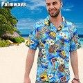 Nuevo 2015 Verano 100% Algodón Hawaii Holiday Beach Camisa de Los Hombres mujeres Camiseta Impresa Manga Corta Ocasional Más Tamaño Sueltan Tops D077