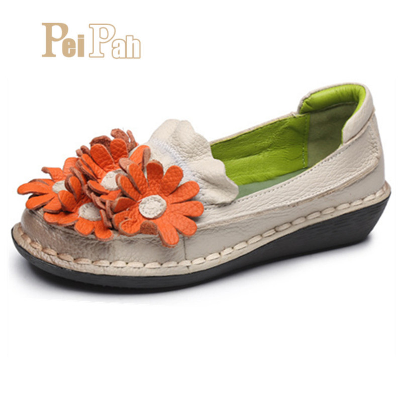 PEIPAH 2019 Handmade Floral Genuine Leather Women Shoes Shal