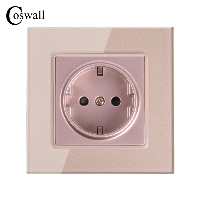 Coswall Wall Crystal Glass Panel Power Socket Plug Grounded, 16A Gold EU Standard Electrical Outlet 86mm * 86mm coswall 16a eu standard wall double socket dimmer regulator light switch stainless steel panel 236 86mm
