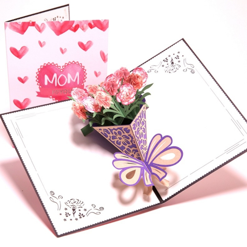 Us 3 3 25 Off 3d Pop Up I Love Mom Greeting Cards Birthday Christmas Mother S Day Gift Bouquet Of Carnations 20 27l In Cards Invitations From Home