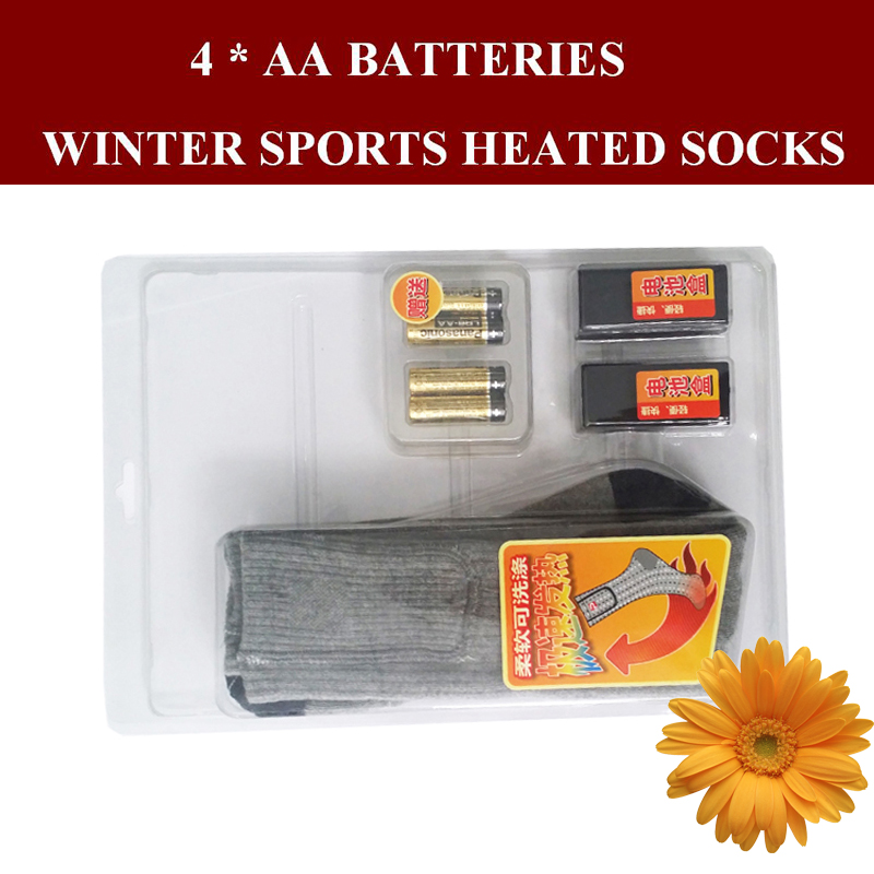 1 Pair Free Shipping 1.5V AA Battery Heating Men Thermal Socks Washable Women Winter Cotton Electric Heated Socks EUR Size 38-44