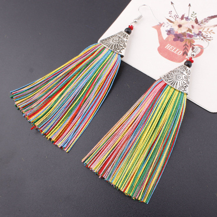 Fish head tassel earrings China National Wind bridal accessories stage performances exaggerated tassel hook earrings