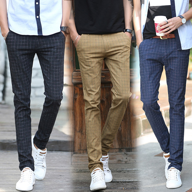 2018 New Autumn Winter Men Business Casual Pants Slim Straight Mens Plaid Dress Male British