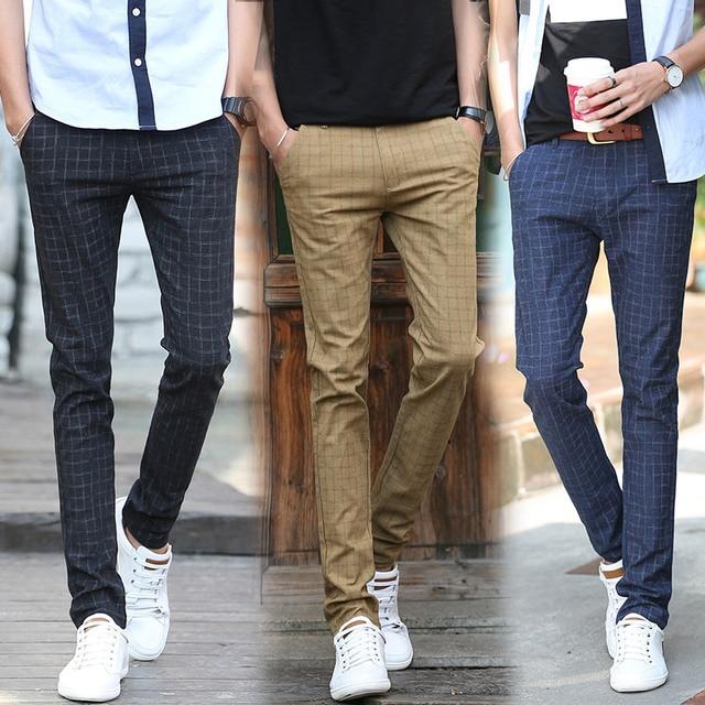 cac4424d7d8 2019 new autumn winter men Business casual pants SLIM STRAIGHT Mens plaid dress  pants male British Cotton Leisure Long Trousers