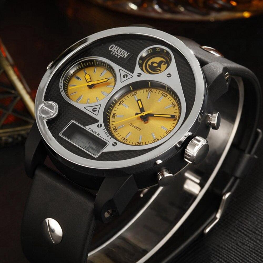 Original OHSEN LCD Men's Watch 5ATM Waterproof