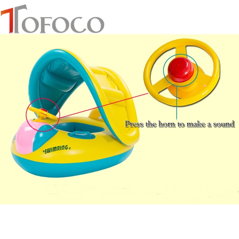 JJOVCE Inflatable Toddler Baby Swim Water Floating Seat with Anti-UV Canopy Swimming Pool Accessories