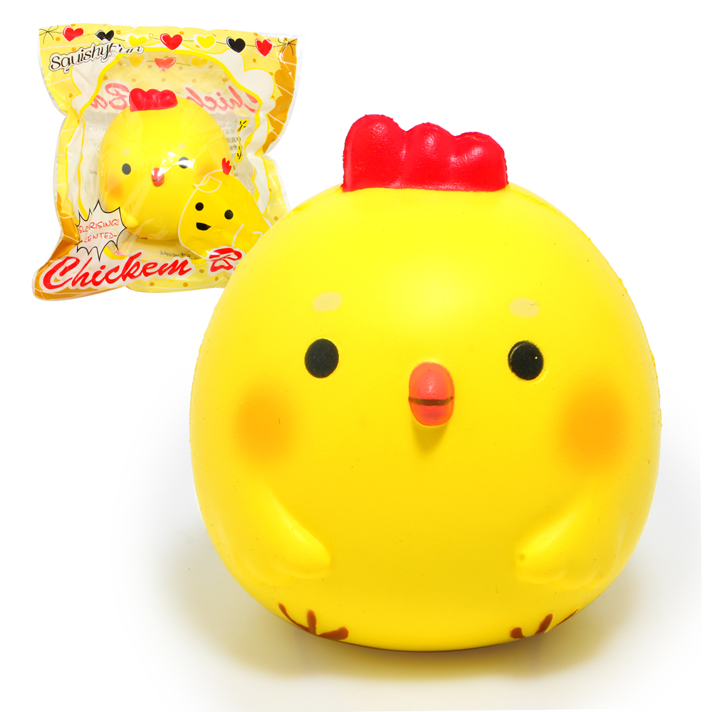 3.9'' Kawaii Jumbo Chicken Baby Squishy Soft Doll Squeeze Toy Collectibles Cartoon Scented Super Slow Rising Phone Strap