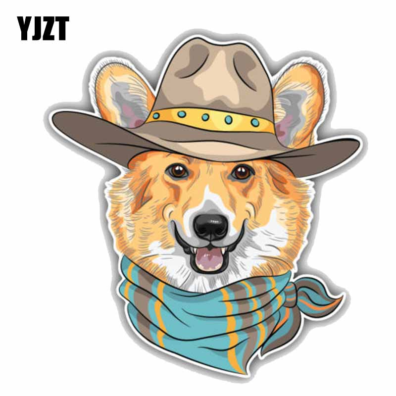 Useful Yjzt 15cmx16.4cm Hipster Dog Pembroke Welsh Corgi Creative Cartoon Car Sticker C1-9066 Jade White Exterior Accessories