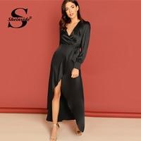 Sheinside Black Knot Side Surplice Wrap Split Satin Dress Women Elegant Long Sleeve Party Dresses Ladies Deep V Neck Maxi Dress