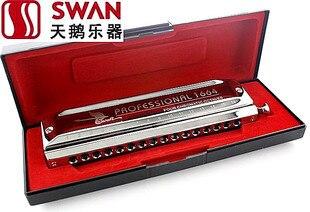 Swan Harmonic SW1664-2 16 Hole 64 tone Chromatic laser logo square Harmonica