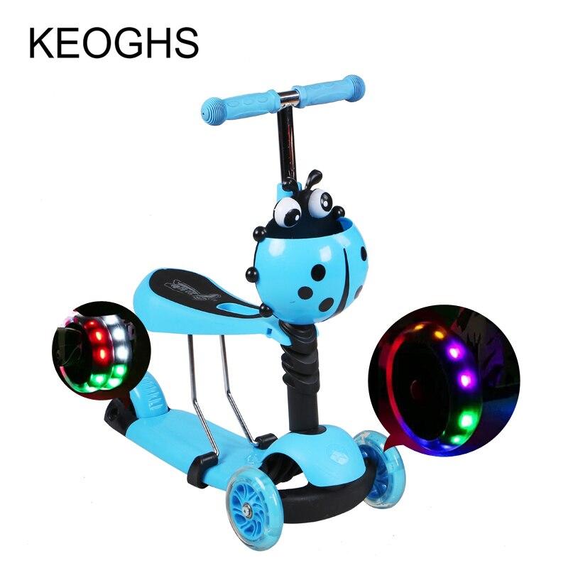 Trottinette enfant bébé 3in1 PU 3 roues clignotant sports de plein air musculation