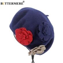 BUTTERMERE 100% Wool Beret Hat For Women Flower Navy Red Ladies Woolen French Beanie Vintage Female Artist Painter Cap