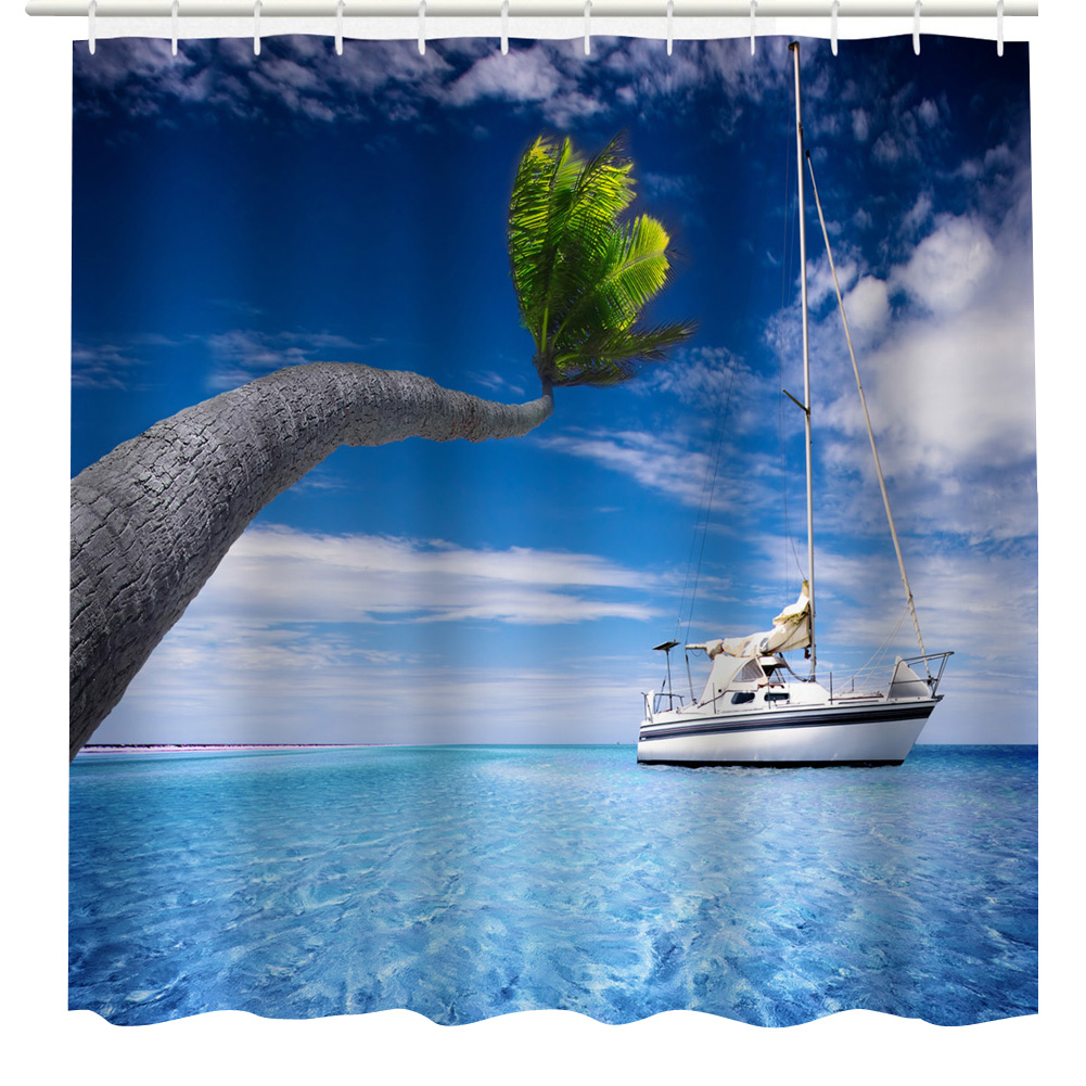 Ocean shower curtain - 3d Print Ocean Sailing Boat Coconut Tree Shower Curtain Home Decor Waterproof Separate Polyester 1 8