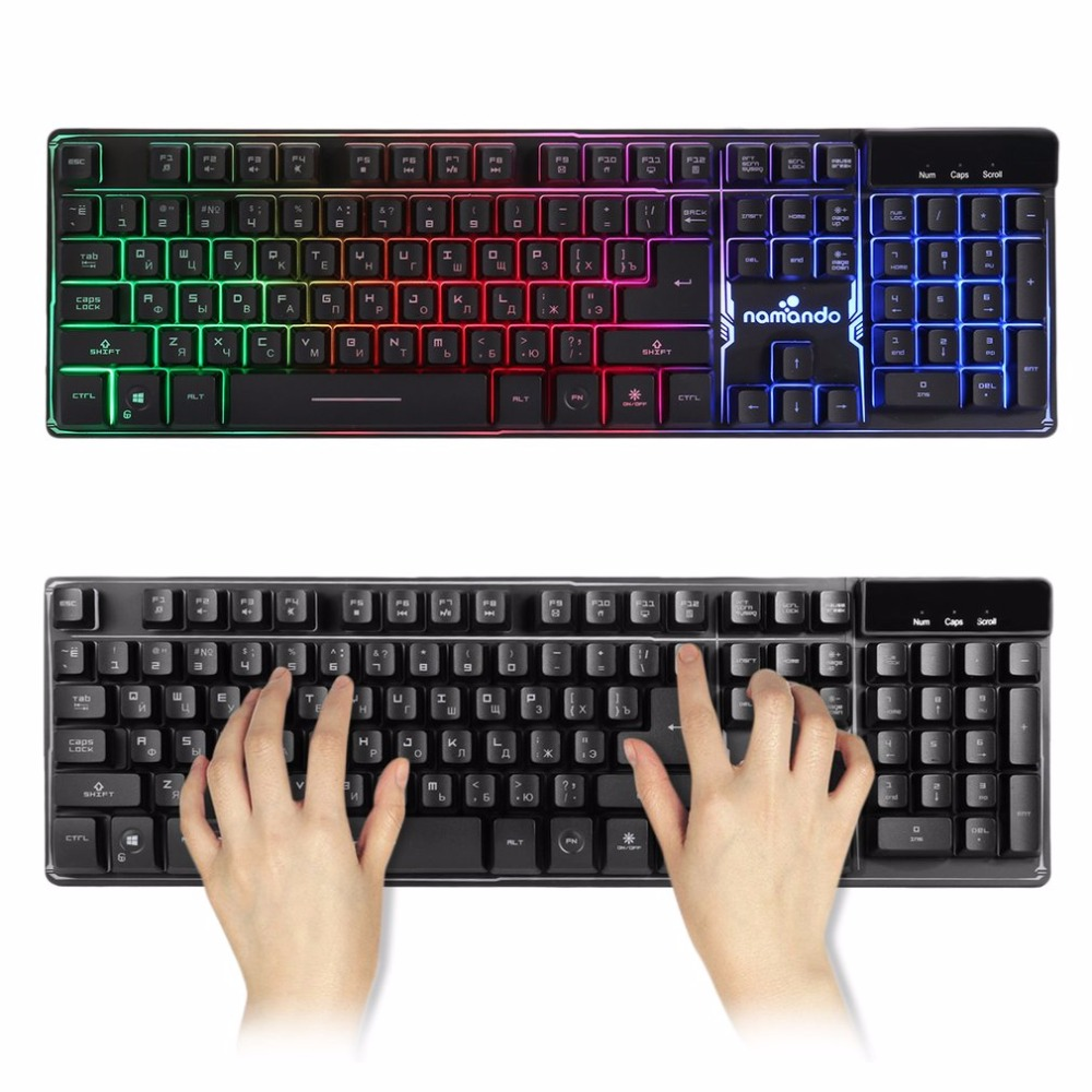 Russian Wired Gaming Keyboard with 3 Colors LED Backlit light Float Keycap for Desktop Laptop Macbook USB Teclado Gamer russian english game keyboard usb wired rgb backlit keyboard 3 color switchable led light for laptop computer gamer
