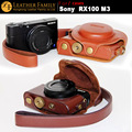 Original High Quality PU Leather Camera Case Bag For sony RX100 III m3 SC-RX100 II RX100M2 leather Case with Neck lanyard brown