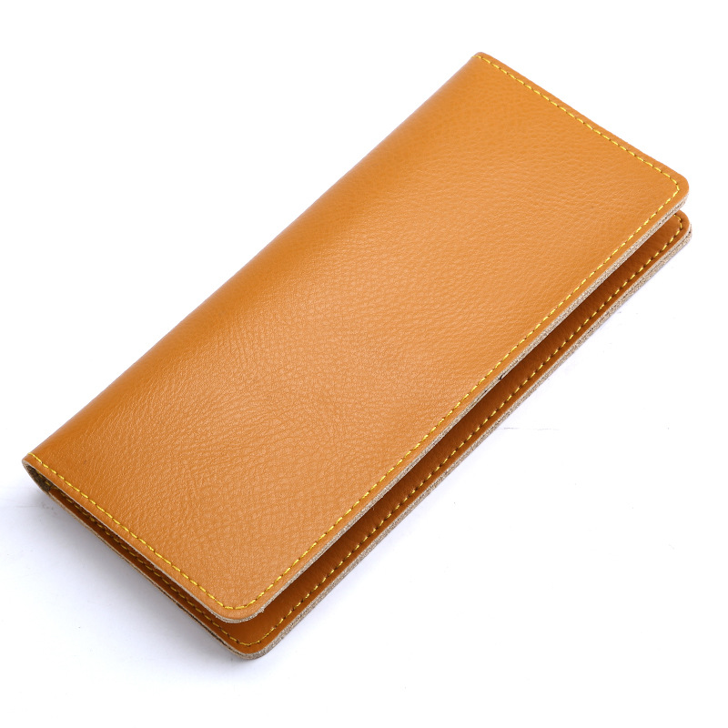 New Long Genuine Leather Wallet 8mm Slim Card Package Fashion Simple Hand Holding Wallet