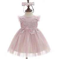 Pink Princess Dress Baby Girl Christening Gowns Knee length Tutu Dress for Baby Shower Baptism Dress lace long sleeve
