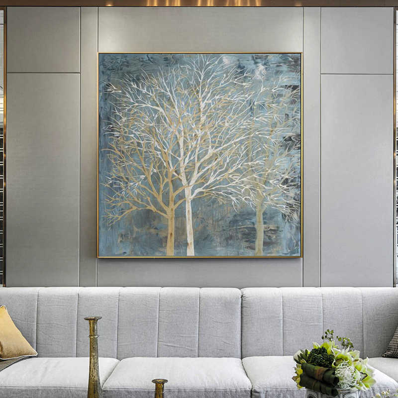 Abstract Oil Painting Posters and Prints Wall Art Canvas Painting Abstract Trees Decorative Pictures for Living Room No Frame